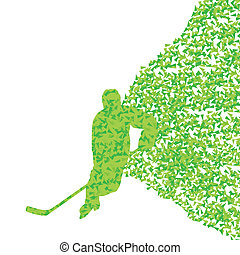 Ice hockey player silhouette sport abstract vector background concept made of triangular fragments exploasion for poster
