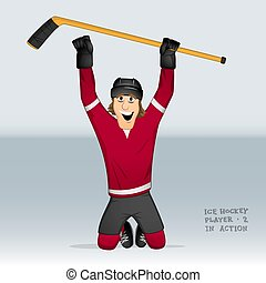ice hockey player standing on his knees - Canadian ice...
