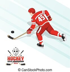 Ice hockey player with puck in red uniform