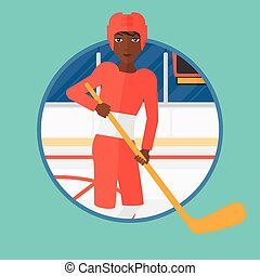 Ice hockey player with stick vector illustration.