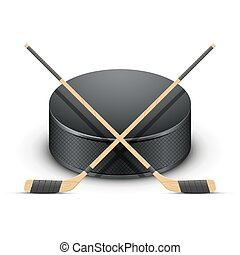 Ice Hockey puck and sticks. Vector. - Ice Hockey puck and...