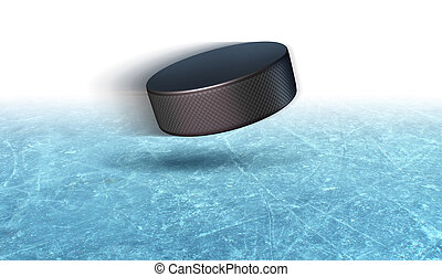 Ice Hockey Puck Background - Ice hockey puck action on a...