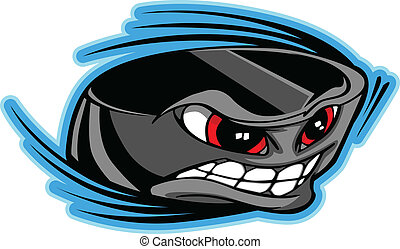 Ice Hockey Puck Face Cartoon Vector - Vector Illustration of...