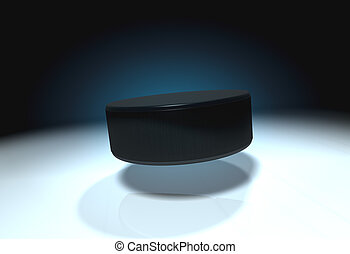 Ice hockey puck - Flying ice hockey puck with cold ice