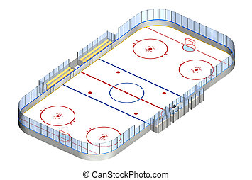 Ice hockey rink 3D isometric - Ice hockey rink detailed 3D...