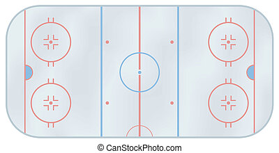 Ice hockey rink - Computer generated illustration of an ice...