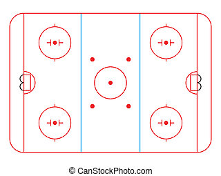 hockey rink - Ice hockey rink diagram. Vector illustration.