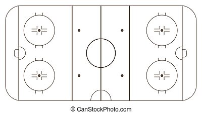Ice hockey rink, standart markup. Vector illustration