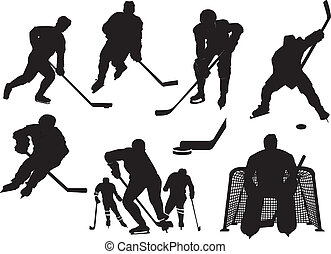 Ice hockey silhouettes set