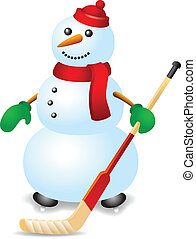 Ice hockey snowman with stick and red hat.