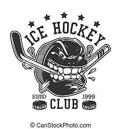 Ice hockey sport club, puck teeth break stick