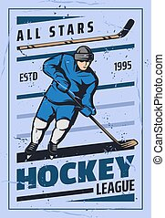 Ice hockey sport game player, stick, puck