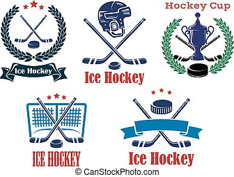 Ice Hockey sporting heraldic emblems and symbols with crossed sticks, helmet, trophu, wreath and hockey puck