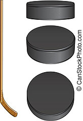 Ice Hockey Stick and Pucks - Illustration of a hockey stick...