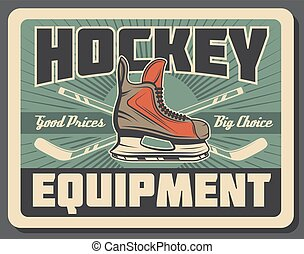 Ice hockey stick, puck and skate. Sport equipments