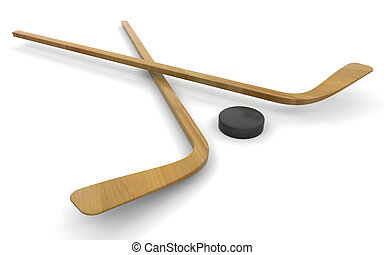 Ice hockey sticks and puck - 3D render of ice hockey sticks...