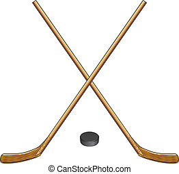 Ice Hockey Sticks and Puck - Illustration of two crossed ice...
