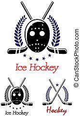 Ice hockey symbols set