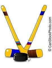 Ice hockey - two hockey sticks and puck - illustration