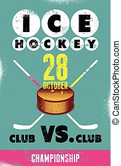 Ice Hockey typographical vintage gr