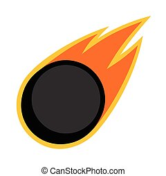 Ice hockey winter sport comet fire tail flying puck logo