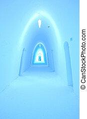 Ice hotel corridor - Colorfully illuminated corridor in an ...