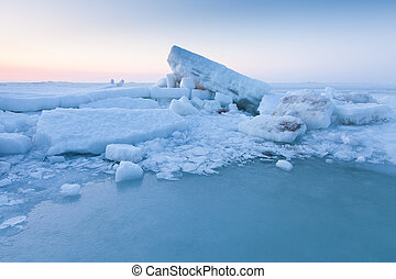 Ice hummocks in the sea