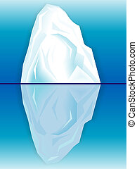 Ice iceberg and its reflection in the sea in a vector