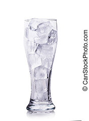 ice in a glass isolated on white background