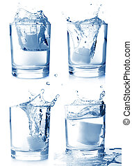 Ice in glass of water with splash set on white background