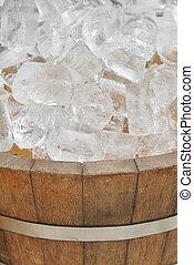 ice in wood pot