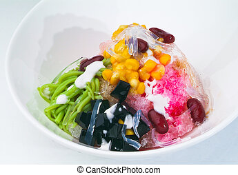 ice kacang, dessert of shaved ice with icecream - ice...