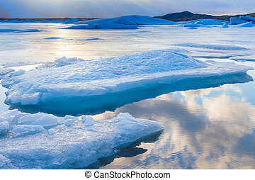 Ice lake in winter season Iceland