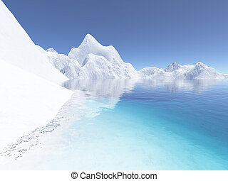 Ice Land - 3D rendered north/southpole scenery.