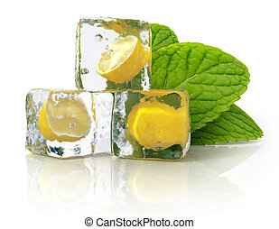 Ice, lemon and mint isolated on white background
