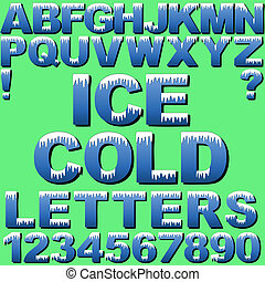 A Set of Cold Letters with Snow or Ice