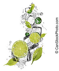Ice limes on white background - Ice limes isolated on white...