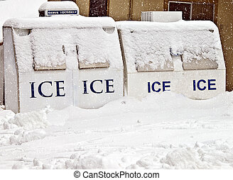 Ice Machines Covered with Snow