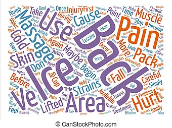 Ice Massage For Back Pain Word Cloud Concept Text Background