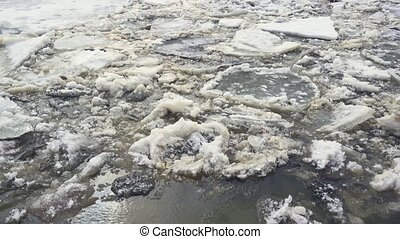 Ice melts on the river in the spring