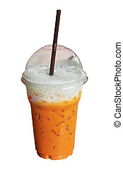 ice milk tea isolated on white background