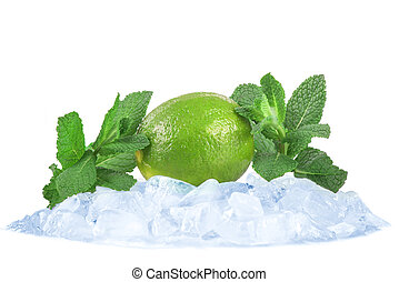 ice mint and lime isolated on white background