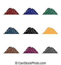 Ice mountain all the cracks.The mountain from which icebergs. Different mountains single icon in black style vector symbol stock illustration.