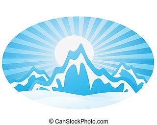 ice Mountain Range with round frame