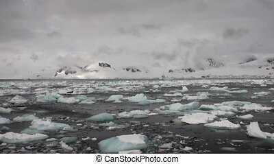 Ice movement icebergs of global warming floats in ocean of...