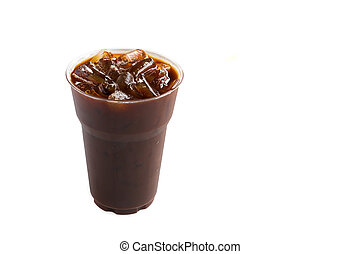 Ice of americano on white background, black coffee drink
