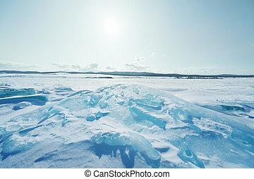 Ice of Baikal lake in Siberia - pieces of ice, Lake Baikal...