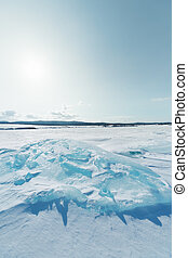 Ice of Baikal lake in Siberia