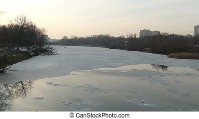 Ice on a lake in early spring