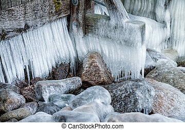 Ice on a pier in winter